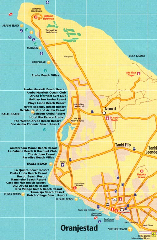 Aruba Maps - Aruba time zone map